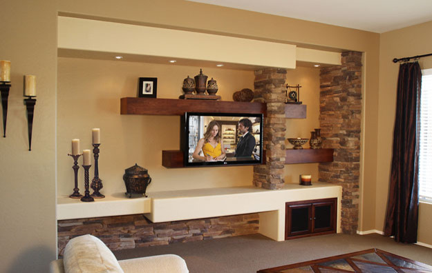 Media Wall Contemporary Family Room Phoenix By