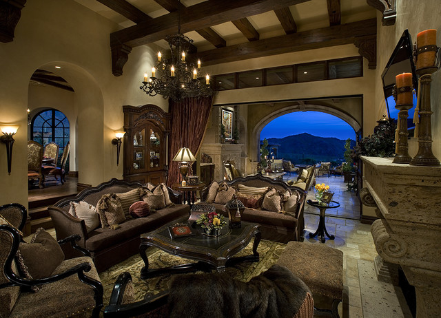 One of a kind family room! mediterranean family room