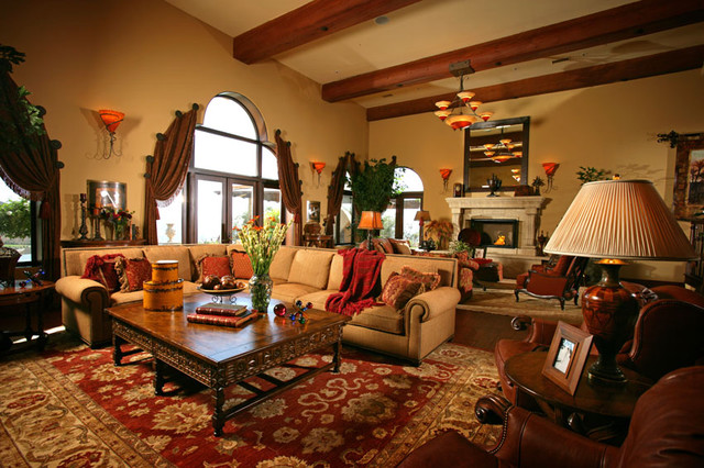Mediterranean family room for All in the family living room