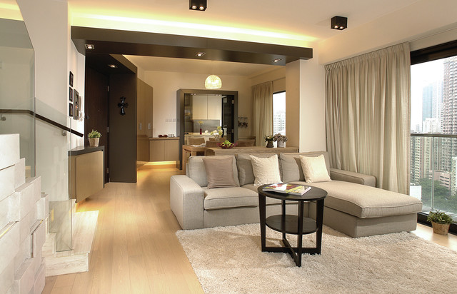 Metal Timber Apartment Contemporary Family Room Hong