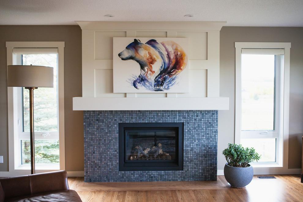 Metallic Mosaic Tile Gas Fireplace, Metallic Tile Fireplace