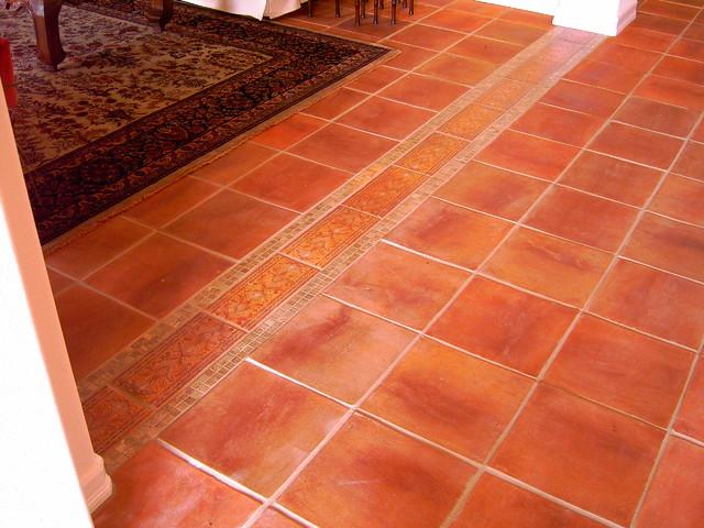 Mexican Saltillo Tile With Custom Edge Floor Design Mediterranean