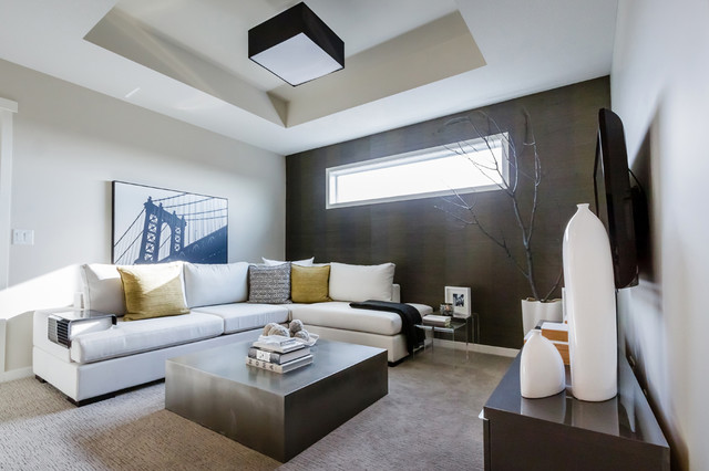 Mh Small Amp Detailed Modern Family Room Calgary By