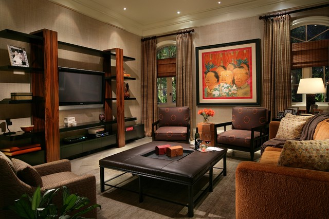 Entertainment Center Inspiration For A Contemporary Family Room Remodel In Miami With Beige Walls And Wall