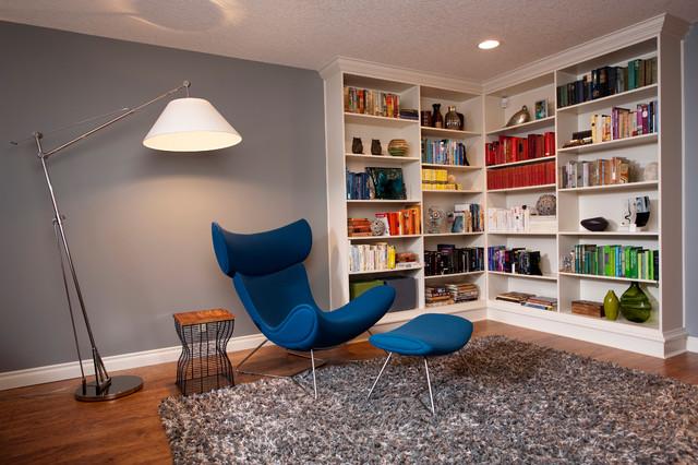 Mid century library contemporary family room calgary by form