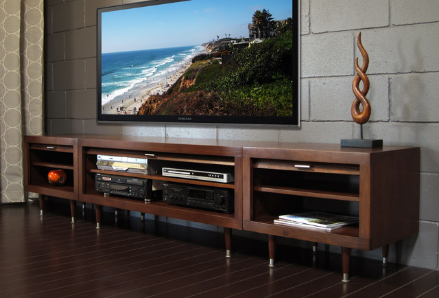 Mid Century Modern Entertainment Center   Milano Mocha Contemporary  Family Room