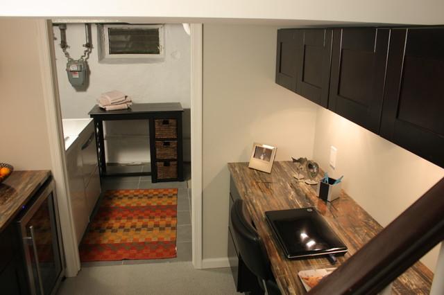 "Mocha Shaker Cabinets-  ""Man Space"" modern-family-room"