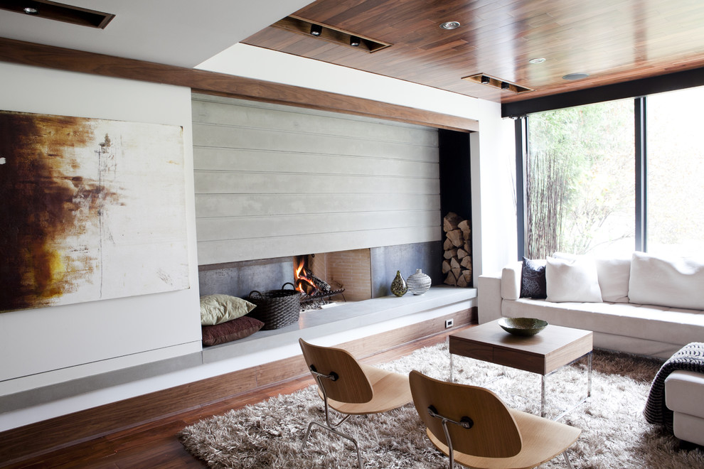 Example of a midcentury modern family room design in Toronto with white walls, a standard fireplace and a metal fireplace