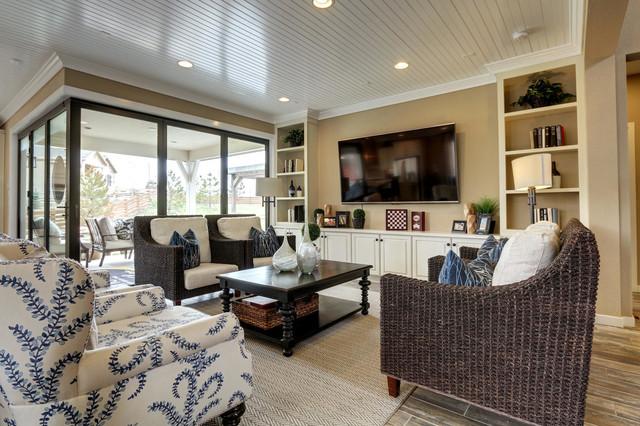 Model home transitional family room denver by ccd for The family room denver