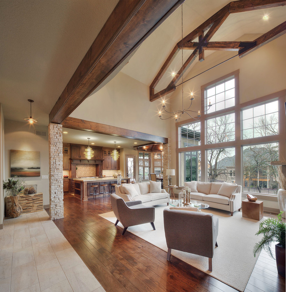 Example of a mountain style family room design in Dallas