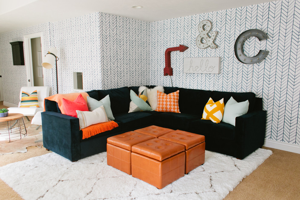 Example of an eclectic family room design in Salt Lake City with multicolored walls