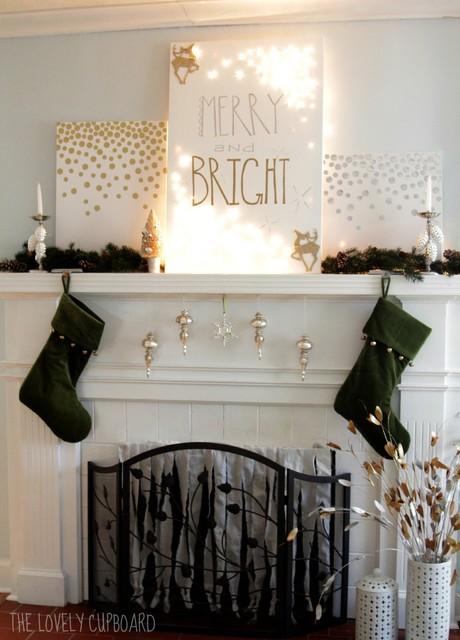 Modern Christmas Mantle family-room
