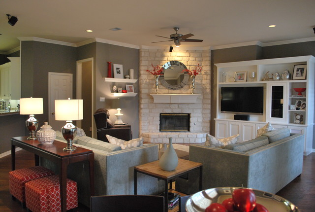 Modern Family Living Space in Grey traditional-family-room