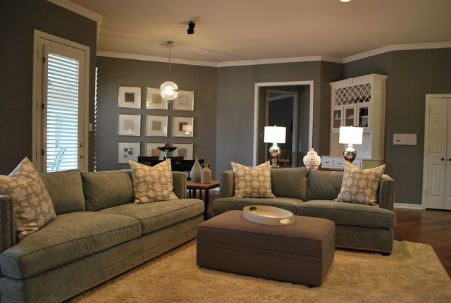 Modern family living space in grey modern family room atlanta by lilli design - Airy brown and cream living room designs inspired from outdoor colors ...