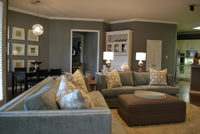 modern family living space in grey modern family room atlanta
