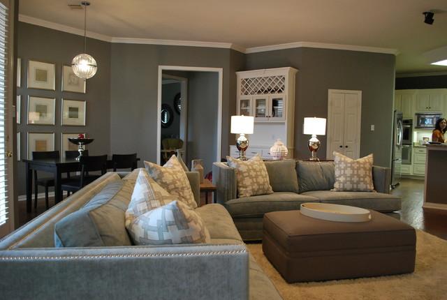modern family living space in grey modern family room