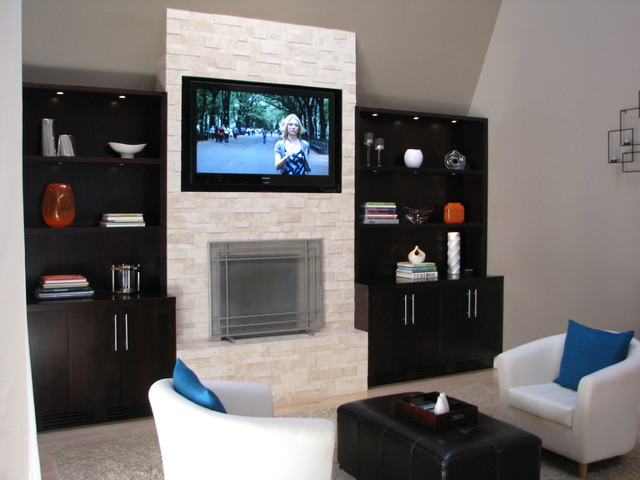 Stacked Stone Fireplace modern-family-room