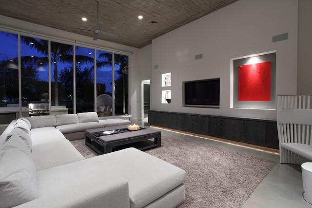 Modern family room moderne salle de s jour miami for Salle de sejour moderne