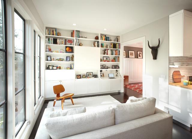 Modern Family Room with Hidden TV & Secretary Desk ...