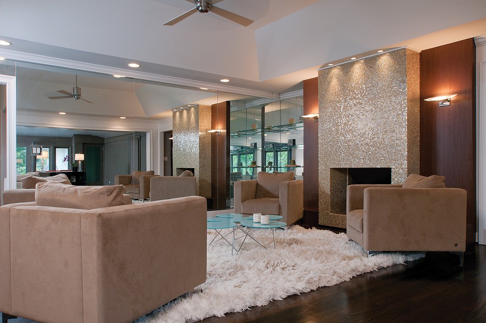Family room - contemporary dark wood floor family room idea in Atlanta with a standard fireplace and a tile fireplace