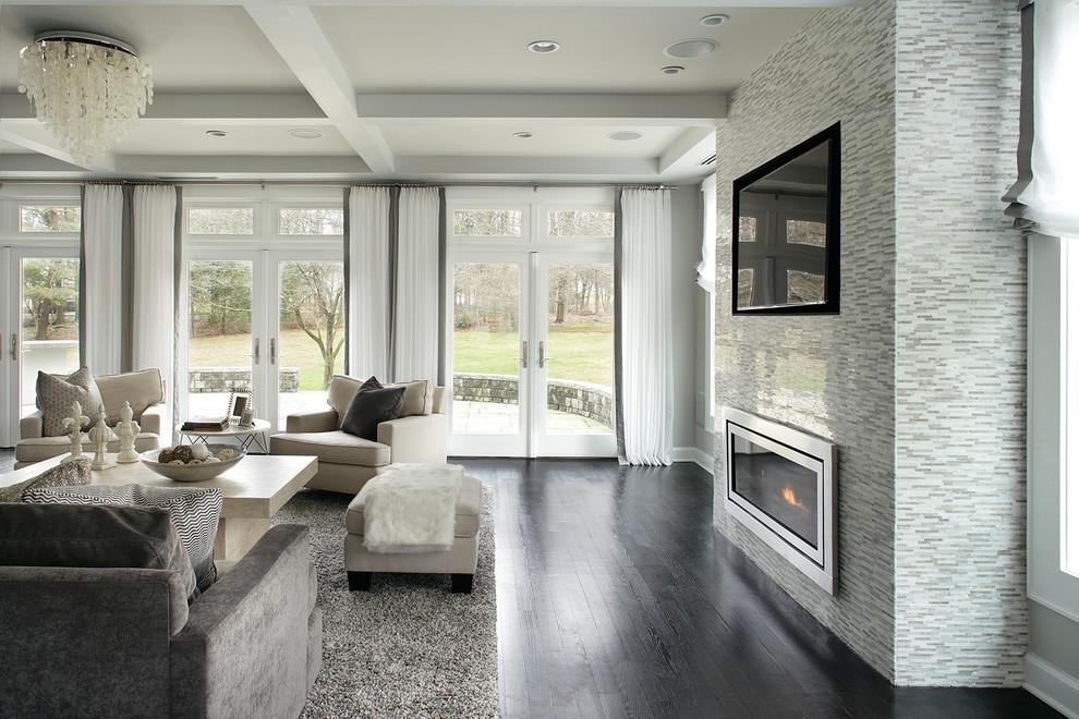 Trendy family room photo in New York