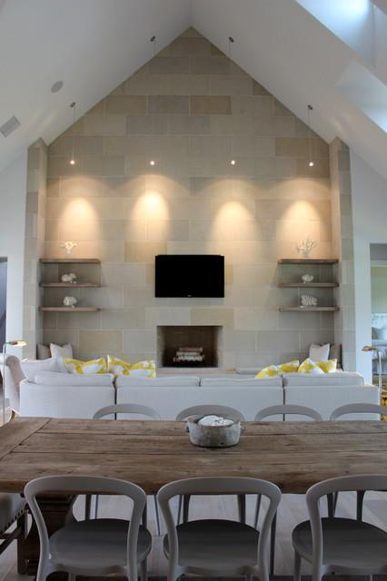 Modern Lake Home transitional-family-room