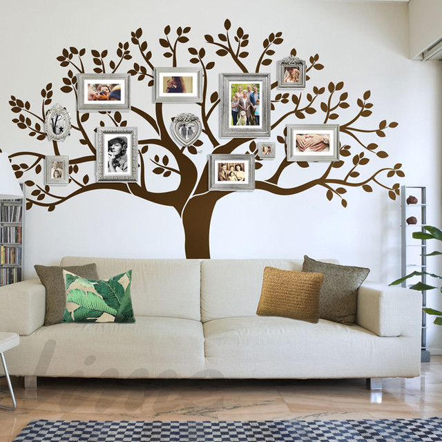 Modern Living Room Family Tree Wall