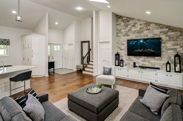 Modern Open Concept Kitchen And Living Room Modern Family Room Columbus By Scott Hall Remodeling