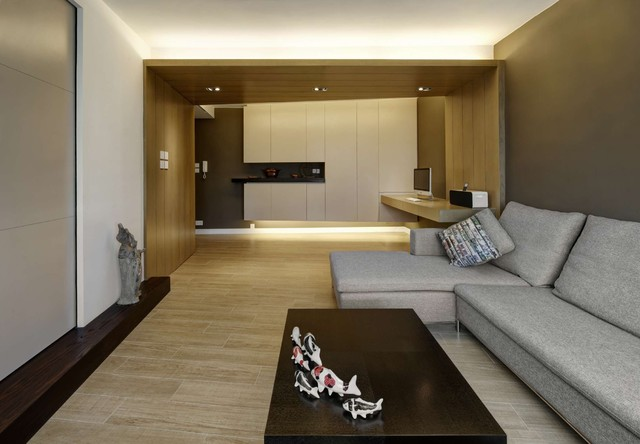 Modern Small Warm Apartment Contemporary Family Room Hong Kong By Ample Design