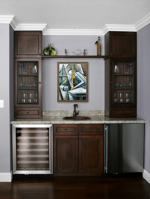 Modern Tile Mural In Home Wet Bar Family Room