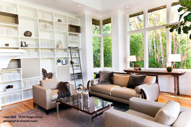 Modern White Library Modern Family Room Orange
