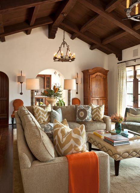 Montecito Andalusian Mediterranean Family Room Santa