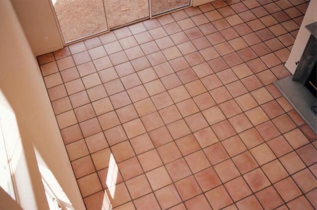 Moorpark Street Paver Floor mediterranean-family-room