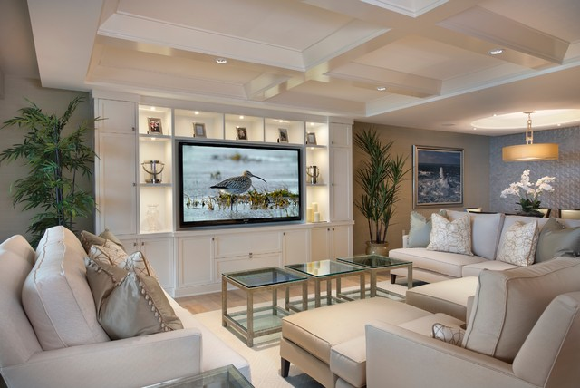 wall units for living rooms. Trendy open concept family room photo in Miami with beige walls and a media  wall Living Room Wall Unit Houzz