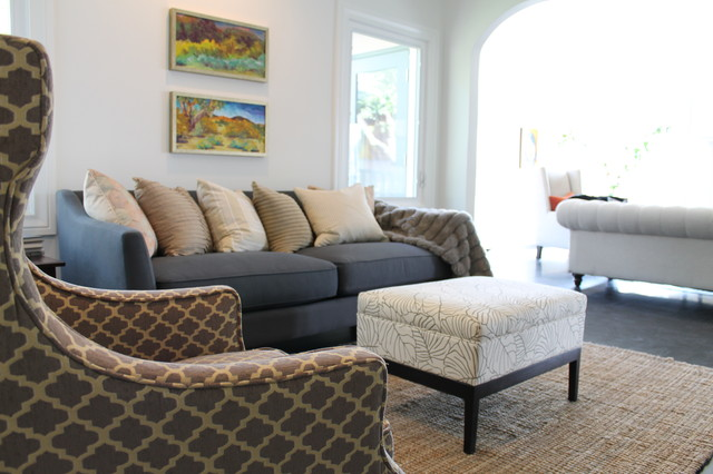 Moroccan Tile Pattern Wing Back Chair And Jute Rug Eclectic Family Room
