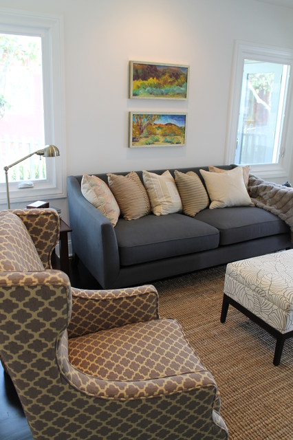 Moroccan Wing Chair and Expressionist Paintings with Transitional Furniture eclectic-family-room