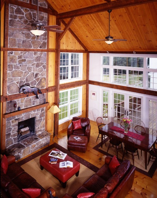 Mount vernon post and beam barn addition traditional for Living room manchester