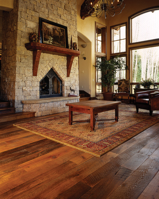 Mountain home great room reclaimed oak floor traditional for Living room ideas oak flooring