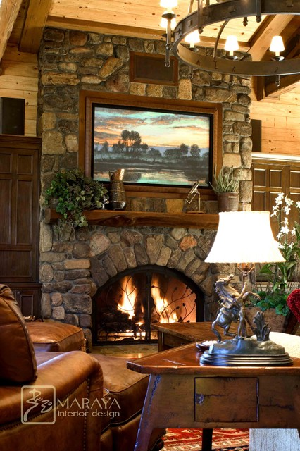 Mountain home living room with stone fireplace rustic for Traditional living room ideas with fireplace and tv