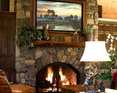 Mountain Home Living Room with Stone Fireplace rustic-family-room