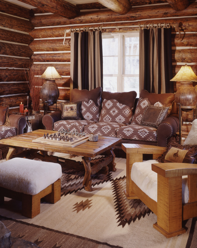 Inspiration for a rustic enclosed family room remodel in Denver with brown walls