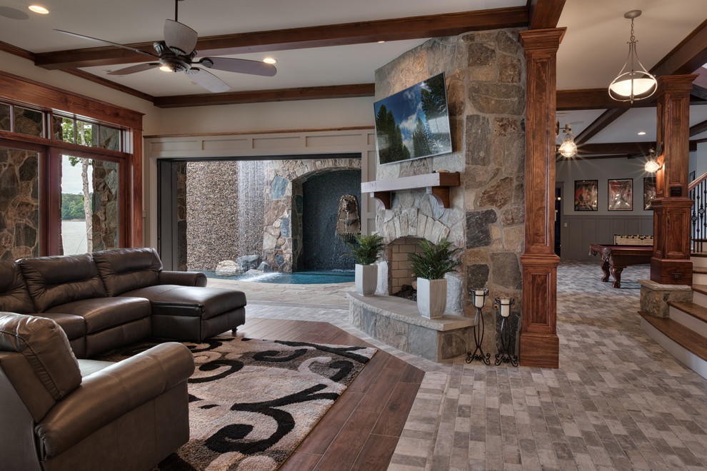 Inspiration for a timeless family room remodel in Other