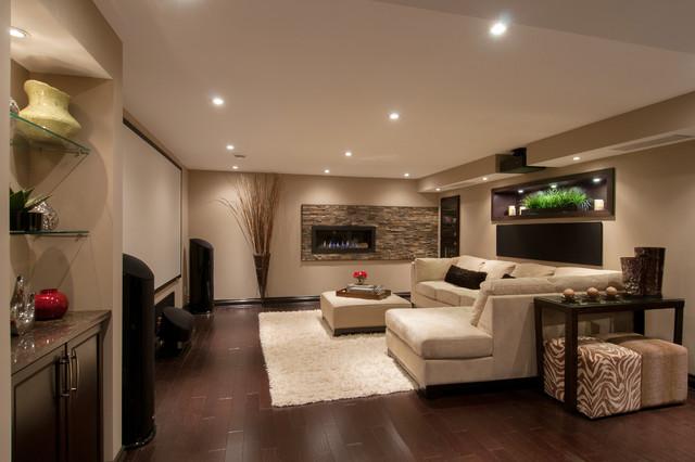 Multipurpose Basement Contemporary Family Room