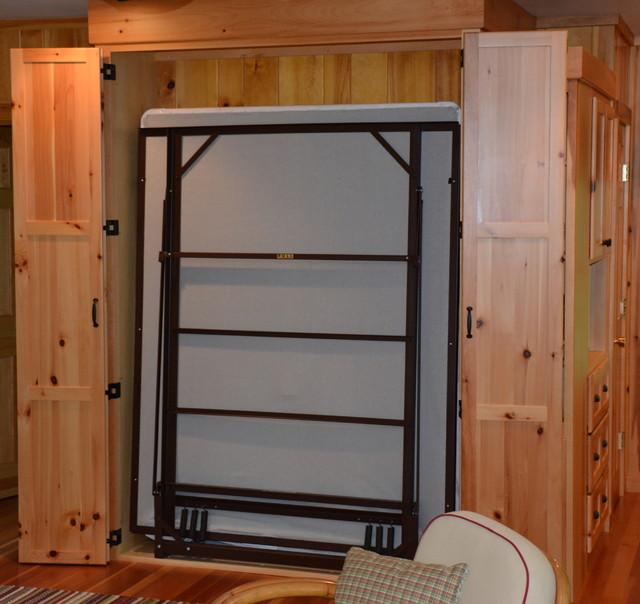 Murphy Bed with Doors Open rustic-family-room