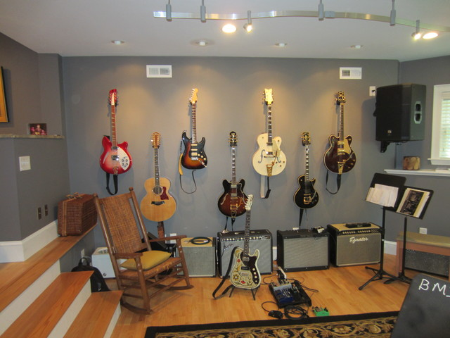 Music Studio Traditional Family Room Boston By