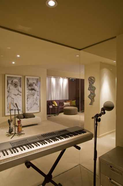 music studio home theater contemporary family room