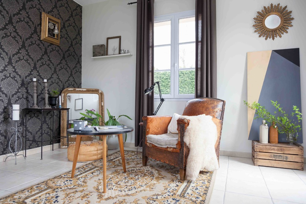 Trendy family room photo in Other with white walls