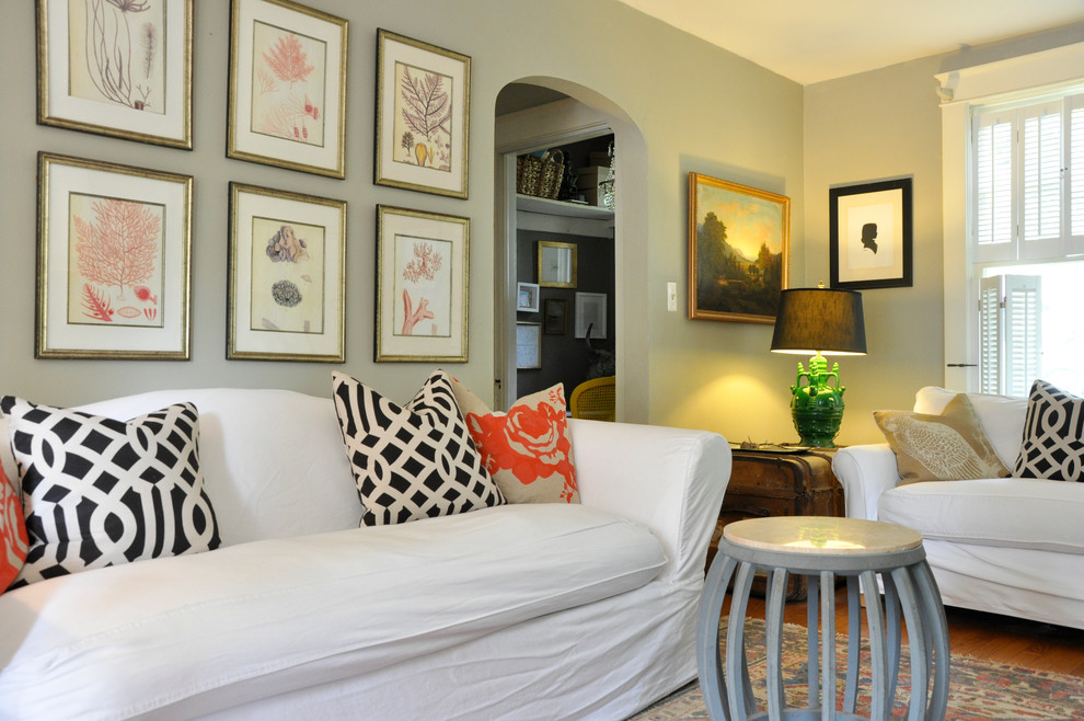 Example of a cottage chic family room design in DC Metro