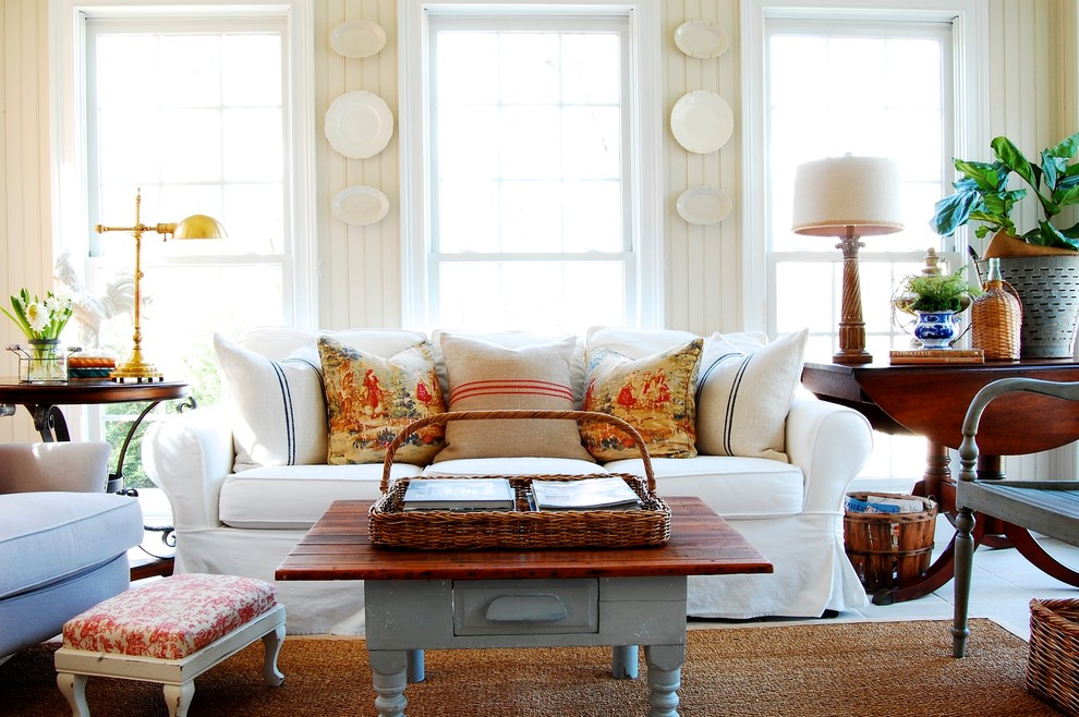 Family room - french country family room idea in New York