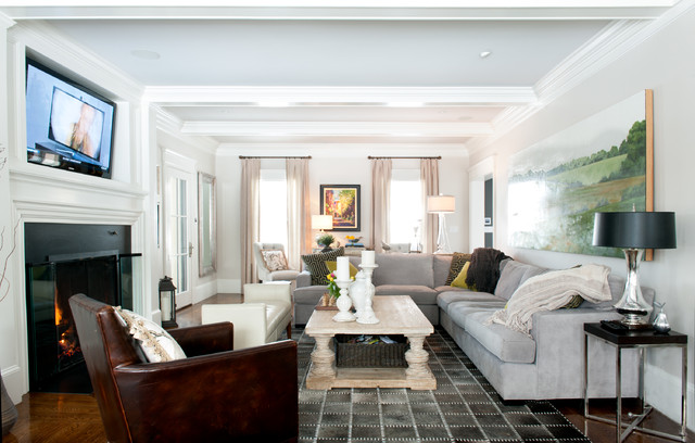 A 1906 Stucco Colonial is Brought Back to its Grand Stature traditional-family-room